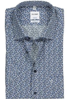 OLYMP Tendenz Modern Fit overhemd korte mouw, blauw met beige dessin