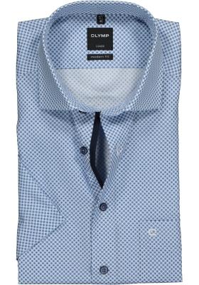 OLYMP Modern Fit overhemd korte mouw, blauw mini dessin