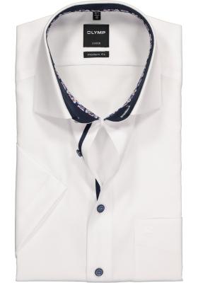 OLYMP Modern Fit overhemd korte mouw, wit structuur (contrast)