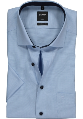 OLYMP Luxor modern fit overhemd, korte mouw, blauw structuur (contrast)