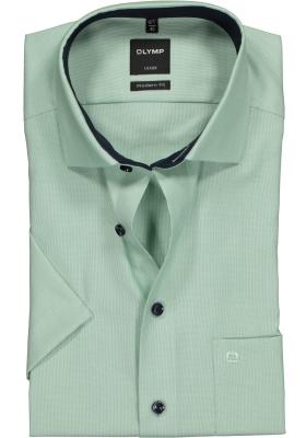 OLYMP Modern Fit overhemd korte mouw, groen structuur (contrast)