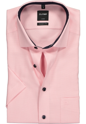 OLYMP Luxor modern fit overhemd, korte mouw, roze structuur (contrast)