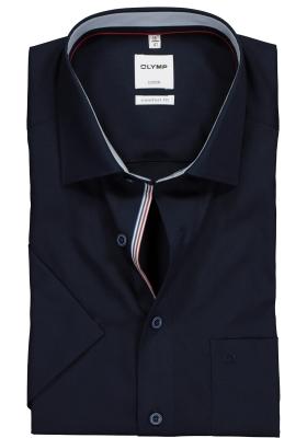 OLYMP Comfort Fit overhemd korte mouw, donkerblauw (contrast)