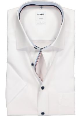 OLYMP Comfort Fit overhemd korte mouw, wit (contrast)