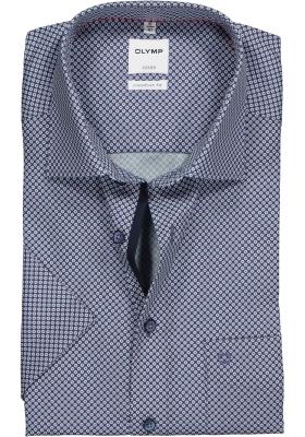 OLYMP Comfort Fit overhemd korte mouw, blauw mini dessin