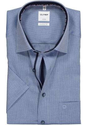OLYMP Comfort Fit overhemd korte mouw, blauw structuur (contrast)