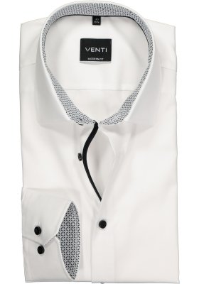 Venti Modern Fit overhemd, wit (zwart contrast)