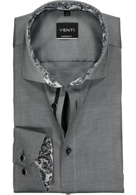 Venti Modern Fit overhemd, antraciet grijs structuur (contrast)