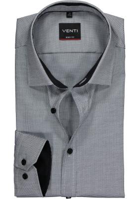Venti Body Fit overhemd, zwart-grijs structuur (contrast)