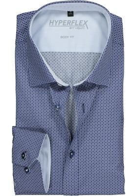 Venti Body Fit overhemd super stretch, blauw-wit dessin (blauw contrast)