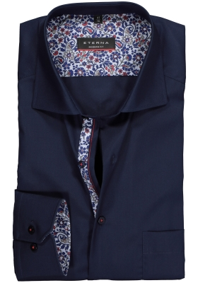 Eterna Modern Fit overhemd, mouwlengte 7, donkerblauw (contrast)