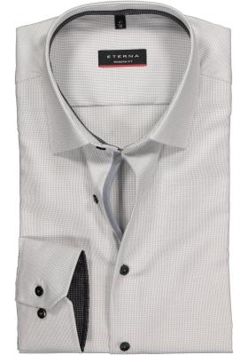 Eterna Modern Fit overhemd, mouwlengte 7, grijs-twill-contrast