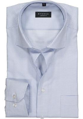 ETERNA Comfort Fit overhemd, blauw-wit geruit twill