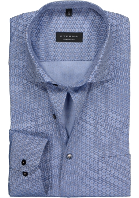ETERNA Comfort Fit overhemd, blauw dessin met structuur