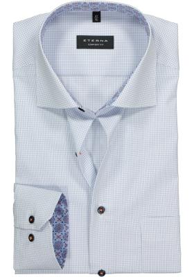 ETERNA Comfort Fit overhemd, blauw-wit geruit (contrast)