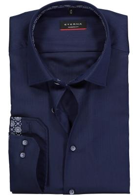 ETERNA Modern Fit overhemd, blauw herringbone (contrast)