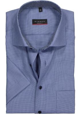 Eterna Modern Fit overhemd, korte mouw, blauw structuur (contrast)