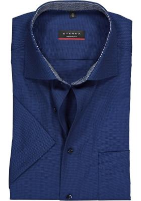 Eterna Modern Fit overhemd, korte mouw, donkerblauw structuur (contrast)