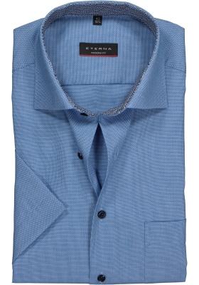 Eterna Modern Fit overhemd korte mouw, blauw structuur (contrast)