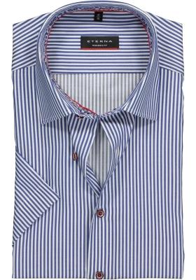 Eterna Modern Fit overhemd, korte mouw, blauw-wit gestreept (contrast)