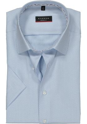 Eterna Modern Fit overhemd korte mouw, lichtblauw mini dessin structuur (contrast)