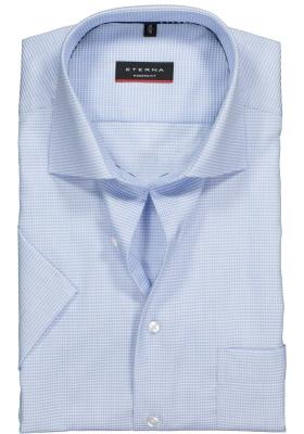 Eterna Modern Fit overhemd, korte mouw, lichtblauw structuur met ingeweven mini dessin