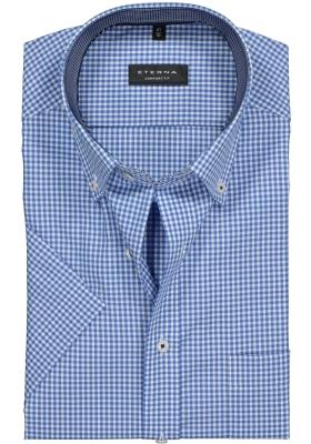 ETERNA Comfort Fit, korte mouw, blauw-wit geruit (contrast)