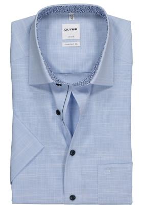 OLYMP Comfort Fit, overhemd korte mouw, lichtblauw structuur (contrast)
