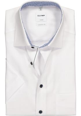 OLYMP Comfort Fit, overhemd korte mouw, wit structuur (contrast)