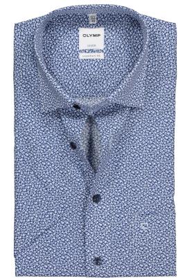 OLYMP Comfort Fit, overhemd korte mouw, blauw met wit dessin