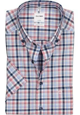 OLYMP Comfort Fit overhemd korte mouw, rood, blauw met wit geruit