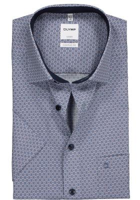 OLYMP Comfort Fit, overhemd korte mouw, blauw met bruin dessin