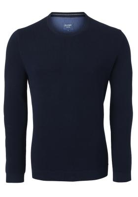 OLYMP heren trui O-hals (katoen), donkerblauw structuur