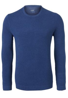 OLYMP modern fit trui katoen, O-hals, blauw structuur