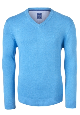 Redmond heren trui katoen V-hals, lichtblauw