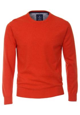 Redmond heren trui katoen O-hals, donker oranje