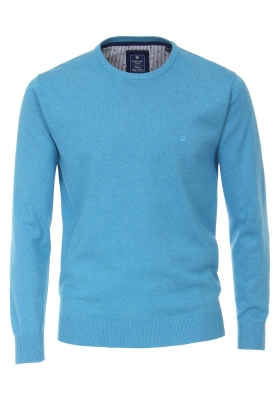 Redmond heren trui katoen O-hals, lichtblauw