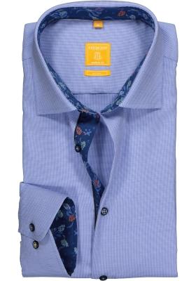 Redmond Modern Fit overhemd, blauw structuur (contrast)