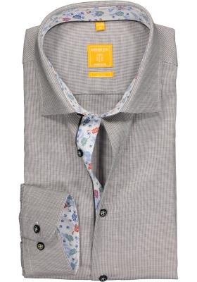 Redmond Modern Fit overhemd, grijs structuur (contrast)
