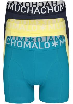 Muchachomalo boxershorts (3-pack), heren boxers normale lengte, donkerblauw, geel en petrol