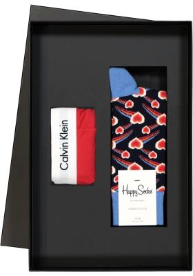 Heren cadeaubox Calvin Klein boxershort + Happy Socks