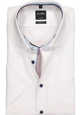 OLYMP Modern Fit, overhemd korte mouw, wit (contrast)