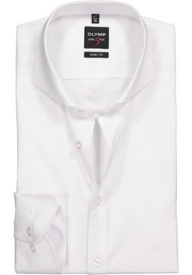 OLYMP Level 5 body fit overhemd, wit fijn twill