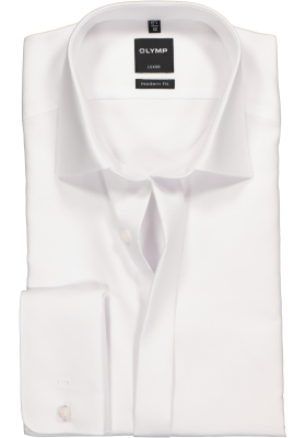 OLYMP Luxor modern fit overhemd, smoking overhemd, wit, structuur stof met Kent kraag