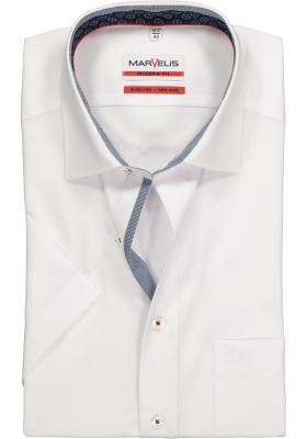 MARVELIS Modern Fit, overhemd korte mouw, wit (contrast)