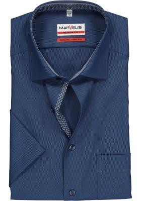 MARVELIS Modern Fit, overhemd korte mouw, blauw structuur (contrast)