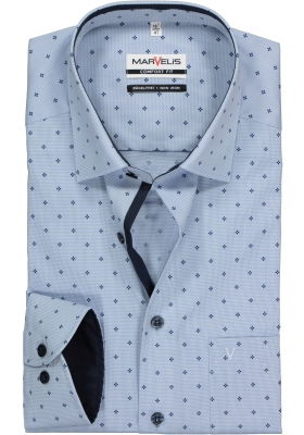 MARVELIS Comfort Fit overhemd, lichtblauw mini ruitje met dessin (contrast)