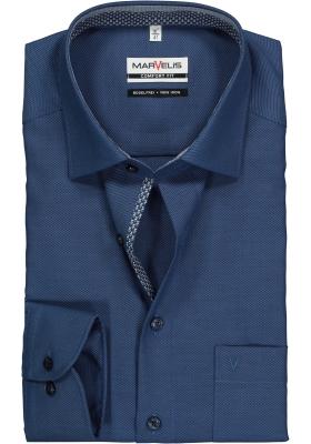 MARVELIS Comfort Fit, overhemd, blauw structuur (contrast)