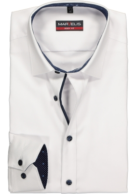 MARVELIS Body Fit overhemd, wit structuur (contrast)