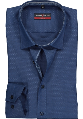 MARVELIS Body Fit overhemd, blauw gestipt structuur (contrast)